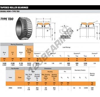 05066-05185D-TIMKEN - 16.99x47x31.75 mm