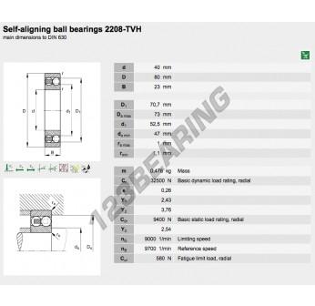 2208-ETN9-FAG - 40x80x23 mm