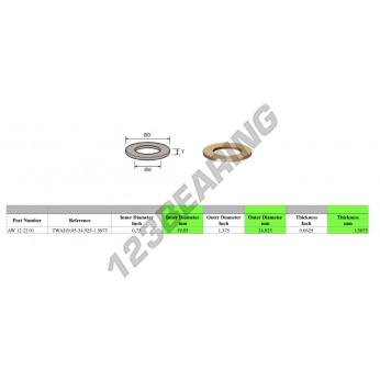 TWAI19.05-34.925-1.5875 - 19.05x34.93x1.59 mm