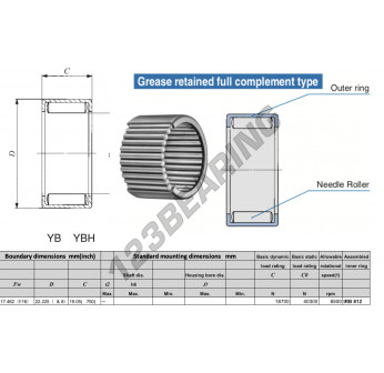 YB1112-IKO - 12.46x22.23x19.05 mm